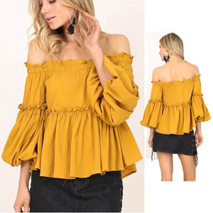 Women's Off Shoulder Blouses Slash Neck Three Quarter Tops Butterfly Long Sleeve Autumn Shirts Party Clothes