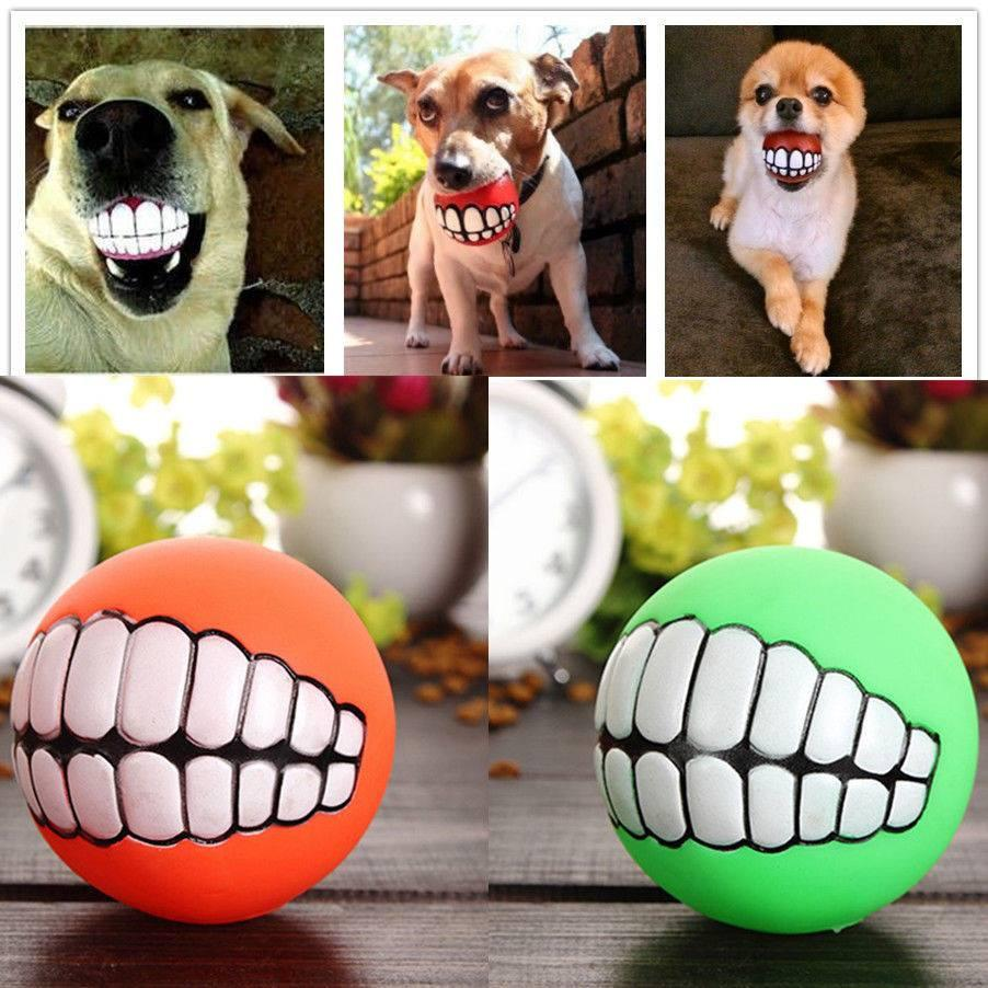 Pet's Dog Puppy Cat Ball Teeth PVC Chew Sound Fetching Squeak Toys
