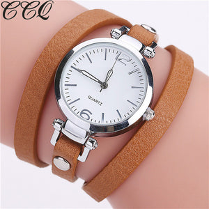 Women's New Fashion Luxury Leather Bracelet Casual Quartz Wristwatch Relogio Feminino