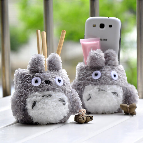 Unisex Kid's New Cartoon Totoro Plush Pencil Vase Lovely Anime Totoro Plush Toy Brush Pot Creative Gift for Kids