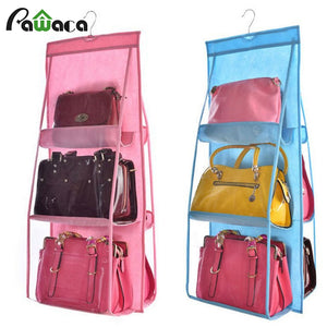 Hanging Storage Bags Rack, 6 Grids Durable Storage Backpack- Home Storage Bag