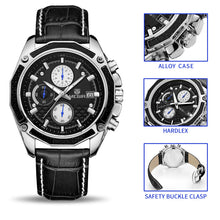 Men's Fashion Genuine Quartz Leather Chronograph Watch