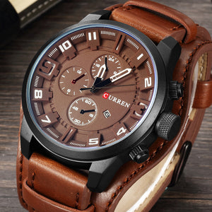 Trendy Military Quartz Mens Watch, Luxury Leather Men's Casual Sport Watch Relogio Masculino