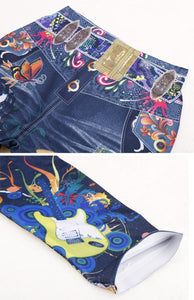 Women's Fashion Elastic Ankle-length Slim Punk Style Faux Denim Pencil Pants Sexy Butterfly Flower Printed Imitation Jeans