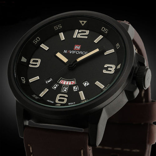 Men's Analog Quartz Date Sport Army Leather Waterproof Wristwatch