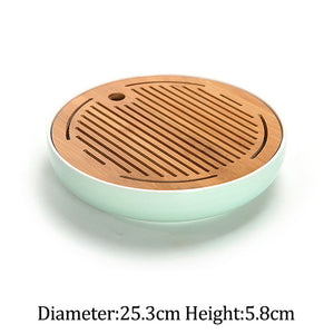 Ceramics Bamboo Tea tray Drainage Water storage Kung Fu Tea set room Board table Chinese tea cup ceremony tools Tea Set