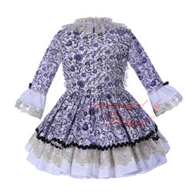 Girls England Style Long Sleeve Boutique Flower Princess Dress Aged 2-12 Years Old- Autumn/Winter