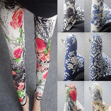 Women's National Ethnic Style Retro Graffiti Paintings Printed Flowers Trousers High Elasticity Leggings