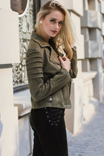 Women's Autumn Winter Casual Suede Leather Ruffle Long Sleeve Jacket