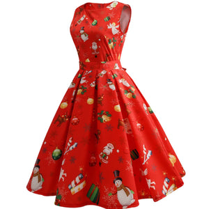 Women New Christmas Pattern Vintage  Sleeveless Floral Printed Dress