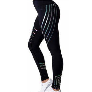 Women's Sports Pants Sexy Laser Printing Stretchy Training Trousers Quick Dry Slim Body Professional Yoga Leggings