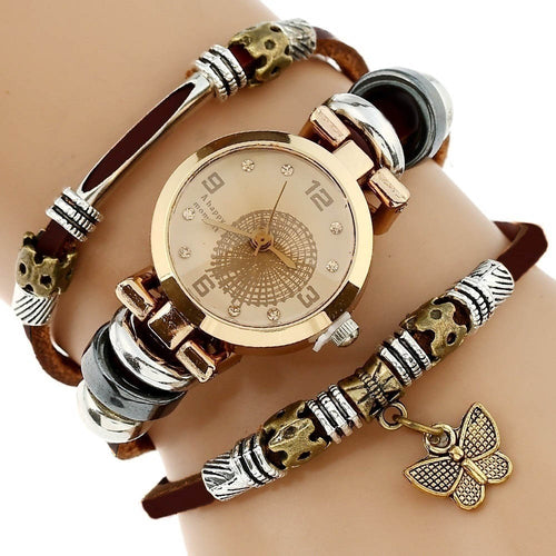 Women's Top Premium Genuine Leather Triple Bracelet Butterfly Charm Wristwatch