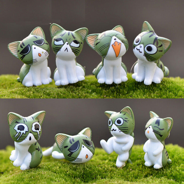 8 Pieces Pet Set 3cm Super Cute!! New Arrival Lovely Unhappy Cats Action Figure Children Toy Baby Room Miniature Decoration Kids Gifts