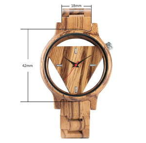 Men's Unique Hollow Triangle Bamboo Handmade Nature Wood Quartz Creative Wooden Watch