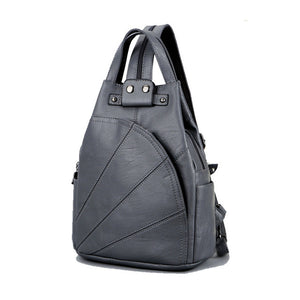 Women's Fashion Leisure PU Leather School Shoulder Bags for Teenage Girls Travel Backpack