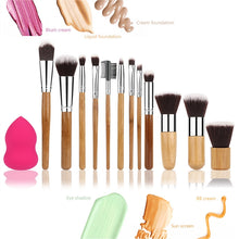 12PCS Makeup Brush Set Professional Bamboo Handle Foundation Blending Blush Eye Face Liquid Powder Cream Cosmetics Brushes & 1 Rose Red Makeup Sponge