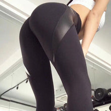 Women's Autumn Winter High Waist Sporting Fitness Push Up Sexy Hip Leather Patchwork Leggings