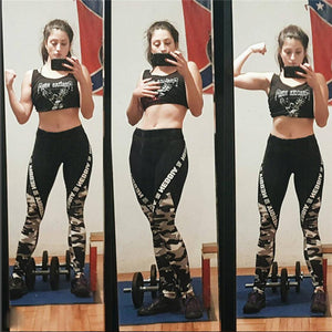 Women's New Yoga Pants Push-Up Sexy Thighs Fitness Letters Stitching Running Quick-Dry Stretch Leggings