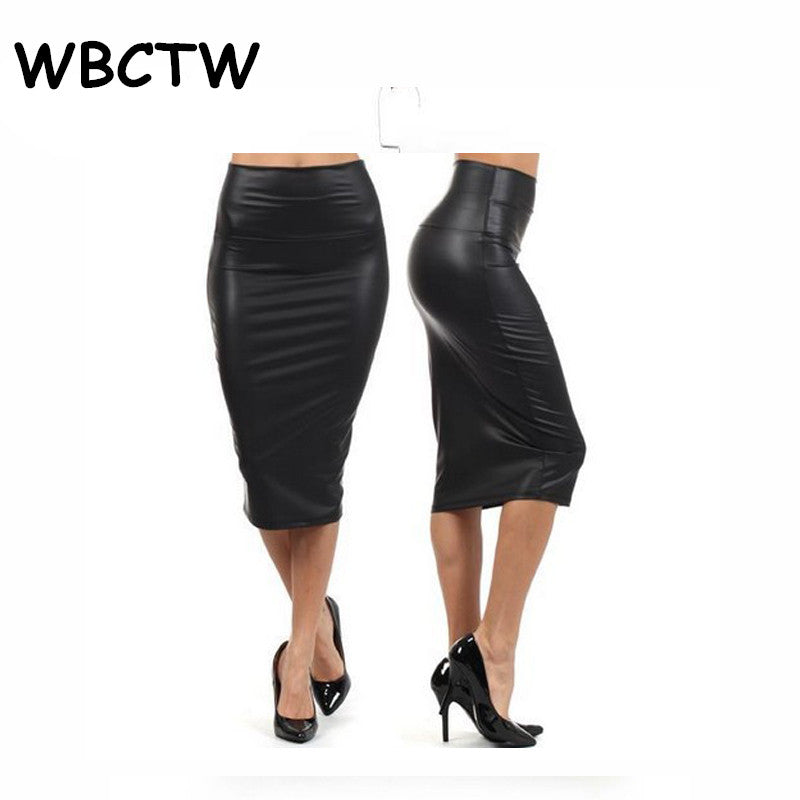 Women's Plus Size Solid High Waist Knee Length Faux Leather Summer Sexy Midi Office Bodycon Skirts XXS - 10XL, One Size