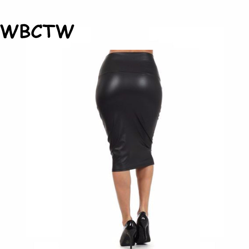 549488f0f ... Women's Plus Size Solid High Waist Knee Length Faux Leather Summer Sexy  Midi Office Bodycon Skirts ...