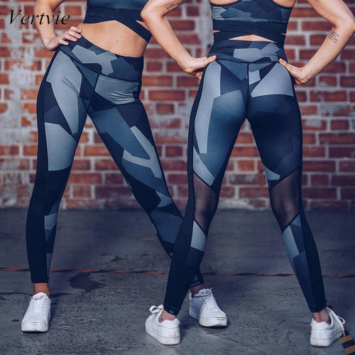 Women's New Print Mesh Patchwork Sexy Yoga Pants Slim High Waist Sports Leggings