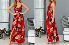 Women's Summer Red Floral Print Sexy Lace Up V Neck Split Backless Beach Long Vestidos Boho Dress