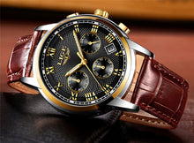 Men's Fashion Sport Top Brand Luxury Gold Leather Waterproof Military Wristwatch Relogio Masculino