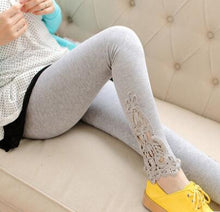 Women's Lace Decoration Solid Knitted Plus Size Long Cotton Leggings