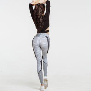 Women's New Black And White Honeycomb Printed High Waist Leggings