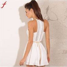 Women's Summer Fashion Solid Lace Sling Vest Rompers Mini Dress
