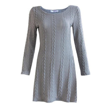 Women's Ladies Long Sleeve Crewneck Jumper Slim Casual Knitted Sweater Mini Dress