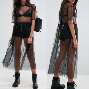 Women's Summer Fashion Black Mesh See-through Short Sleeve Sheer Dress Tulle