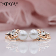 Women's New Exclusive Flame Type 585 Rose Gold Shell Pearls Drop Earrings White Natural Zircon RU Hot Party Wedding Jewelry