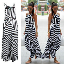 Women's Summer Sexy Boho Striped Sleeveless Maxi Long Beach Style Strap Sundress Vestidos Dress