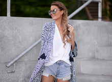 Women's Summer Autumn Long Vintage Boho Printed Chiffon Loose Shawl Kimono Cardigan Tops Cover up Blouse