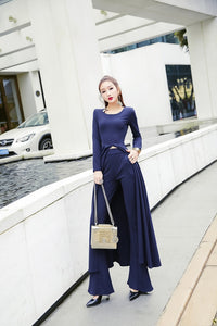 Women's Spring Autumn Casual 2 Piece Set Top and Flare Pants Sexy Dresses