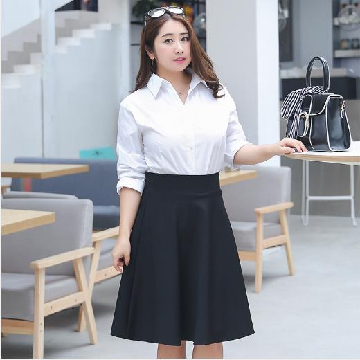 Women's Autumn Winter Pleated Sexy Big Hem Vintage Female Black Plus Size Skirt M -  5XL