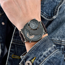 Men's Multiple Time Zone Sports  Military Army  Casual PU Leather Strap Antique Designer Quartz Wristwatch