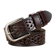 Women's Top Quality Fashion Wide Genuine Leather Belt Floral Carved Cow Skin Belts