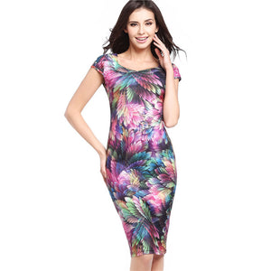 Women's Office Elegant Vintage Peacock Feathers Print Retro Cap Sleeve Vestidos Casual Party Evening Sheath Bodycon Dress