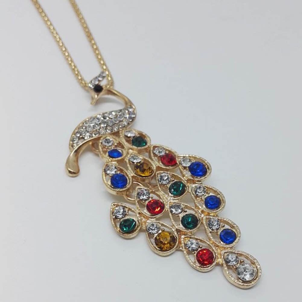 Women's New Crystal Colorful Peacock Long Necklaces & Pendants National Style Dress Accessories