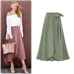 Women's Irregular Elastic Waist Plus Size A-line Skirts Hip Slim Medium-Long Loose Sheds Skirts Bowknot Skirts 5XL 6XL
