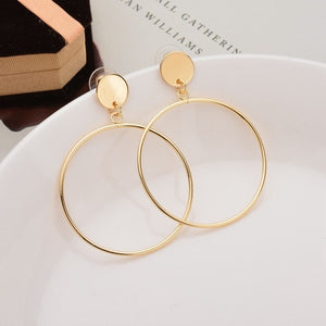 Women's Simple Trendy Gold Sliver Color Geometric Big Round Circle Large Hollow Drop Earrings