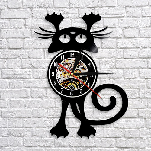 Home Décor 1 Piece Lovely Cat Decoration Clock Animal Vinyl LP Record Kitty 3D Wall Clock Modern Design Home Decor Nursery Wall Art Décor