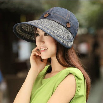 Women's Summer Sun-Shading Dual Anti-UV Large Brim Beach Strawhat Visor Hat