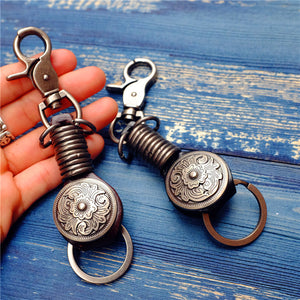 Unisex K-15 Vintage Leather Key Ring Wallets Smart Key Holder Collector Housekeeper Key Organizer Bag Banging