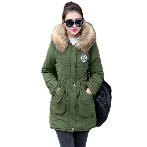 Women's Winter New Long Thick Cotton Warm Plus Size Fur Outwear Jacket Coat
