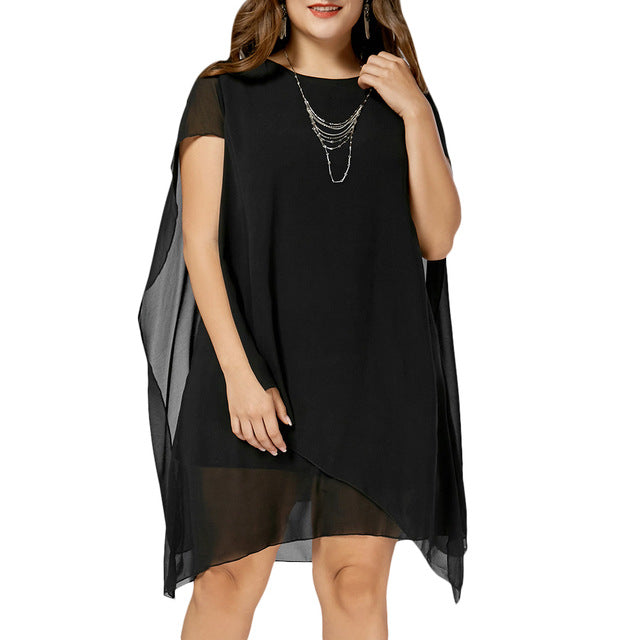 Women's Summer Short Sleeves Knee Length Vestidos Chiffon Asymmetric Cape Party Dress Plus Size 3XL - 5XL