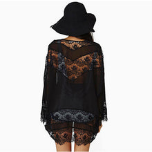 Womens Casual Vintage Boho Kimono Cardigan Lace Crochet Chiffon Loose Blouse Tops Beige Black White - Autumn