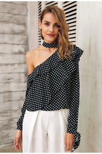 Women's Summer One Shoulder Polka Dot Ruffle Lantern Sleeve Vintage Chiffon Blouse
